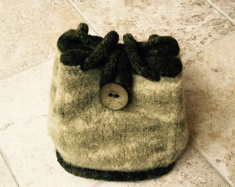Shades of Sage Green Knitted Felted Sophisticated Purse - PROCEEDS FOR CHARITY