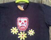 Skull & Flowers men's clothing batik organic bio cotton t shirt vintage black hand drawn hand painted hand dyed  XS, S, M, L, XL, XXL, 3XL