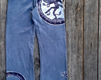 Yoga relaxed pants super soft batik clothing hand dyed gray womens Eco friendly Shiva yoga festival clothing