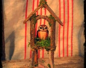 Owl Miniature in Clay With Bark and Twig House