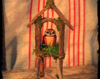 Owl Miniature in Clay With Bark and Twig House Custom Order, owl, shrine, altar, witchy, barn owl, miniature animal, woodland