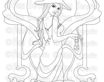 Digital Stamp - Printable Coloring Page - Fantasy Art - Witch Stamp - Adult Coloring Page - Priscilla - by Nikki Burnette - PERSONAL USE