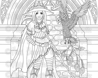 Digital Stamp - Printable Coloring Page - Witch Stamp - Adult Coloring Page - Serafina Version 2 - by Nikki Burnette - PERSONAL USE