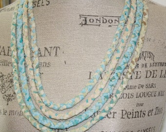 Four Strand Braided Fabric Necklace Beachy Sea Colors