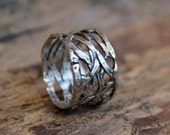 Silver band, infinity band, braided band, wide ring, unisex band, wedding band, oxidized ring, statement ring, boho ring - Endless. R1345