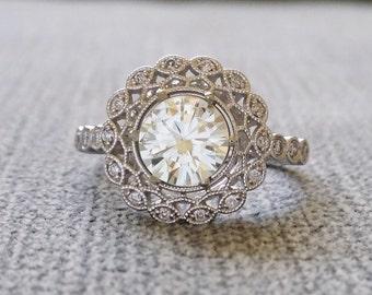 "Moissanite Diamond Ballerina Antique Engagement Ring lace doily Art Deco Flower Filigree Round 14K white gold Vintage ""The Mae"""