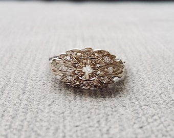 Antique Engagement Ring White Gold Diamond Bohemian 1930s Feather Flower Filigree Leaf Promise Art Deco White 14k Gold  5.25