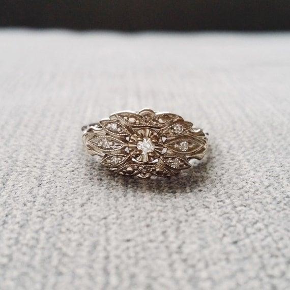 antique engagement ring white gold diamond bohemian 1930s feather flower filigree leaf promise art deco white - Bohemian Wedding Rings