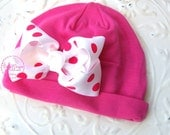 Newborn Baby Hospital Hat Beanies / Baby Girl Beenie / Hot Pink Polka Dot Bow Cotton Knit Rounded Beanie / Infant Hat Bow More Sizes Colors