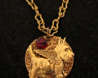 SCOTTISH TERRIER ANGEL Necklace Jewelry. Scottie Dog. Scotty Dog. Engravable Gold Charm Pendant. Pet Loss Memorial Sympathy Gift for Women