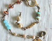 Gracie.layered,glass beaded,boho,charm bracelet. Tiedupmemories