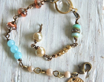 Gracie.layered,glass beaded,boho,charm bracelet. Tiedupmemories