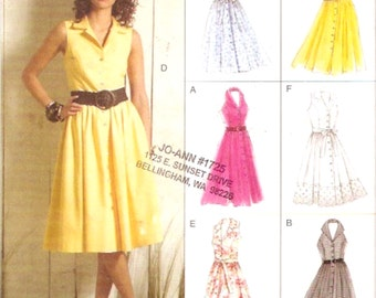 Halter style dress Easy options Vogue 8383 sewing pattern office party cocktail Day Bridesaids dress Size 6 to 12 UNCUT