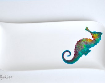Seahorse Serving Platter, Hand Painted Seahorse Plate, Seahorse Platter, Painted Seahorse, Seahorses, Painted Seahorses, Seahorse Decor