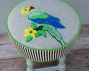 Parrot and Stripes Pouf Embroidered Stool Ottoman Pouf Circus Style Wooden Furniture Vintage Embroidery