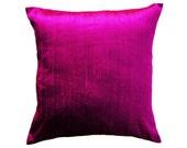 Magenta Pillow Cover -- Silk Purple Pink 26 x 26 Silk Throw Pillow Cover