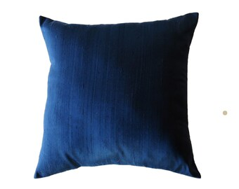 Blue Pillow Cover -- Silk Navy Blue Dark Blue Silk Decorative Cushion Cover -- 18 x 18