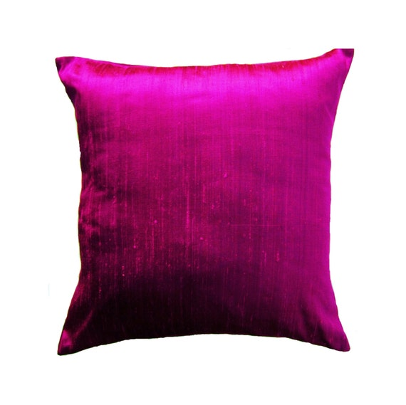 Purple And Pink Decorative Pillows : Items similar to Magenta Pillow Cover - Silk 26 x 26 Purple Pink Throw Pillow Cover on Etsy