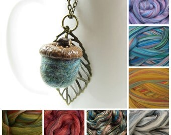 Felted Acorn and Brass Leaf Necklace on 24 inch Chain