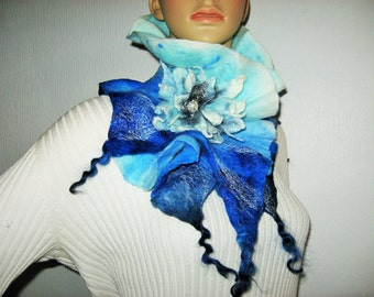 Wool Felted Scarflette Felt Womens Neck Warmer With Floral Brooch Aqua Royal Blue