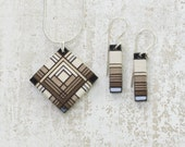 Brown Ombre Tone Thread Wrapped Jewelry Set with Prairie Style and Art Deco Flare