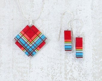 Bright Red Thread Wrapped Fiber Jewelry with Lime Green and Brilliant Blue accents