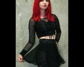 Black Mesh Circle Skirt size XS S M L XL 2XL 3xl high-waisted sheer lingerie plus size mini stretch spandex flared