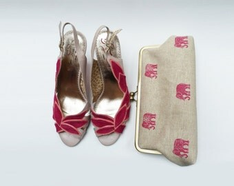 Clutch bag, pink and natural linen, pink elephants, Indian elephant purse