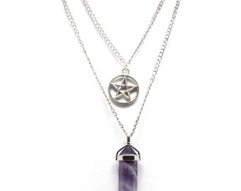 Amethyst Crystal Point Pentagram Necklace, Gemstone Necklace, Amethyst Necklace, Amethyst Pendant, Silver Point Pendant,Layered Necklace B2