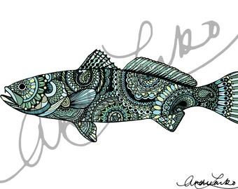 """Zentangle Sea Trout Fish Art Print 8.5""""x11"""""""