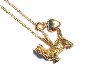 Terrier dog Love 14kGF Gold Necklace