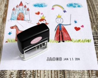 Kid Artwork Date Stamp, Dater stamp for kids, Custom Self inking stamp, Dater stamp, Handmade date stamp --5068