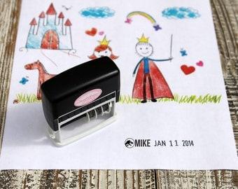 Kid Artwork Date Stamp, Dinosaur Dater stamp for kids, Custom Self inking stamp, Dater stamp, Handmade date stamp --5071