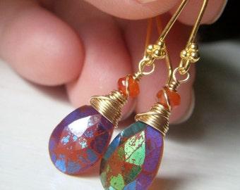 Carnelian Gemstone Earrings, Mystic Carnelian, Rainbow Earrings, Wirewrapped Briolette Dangle, Orange Gemstone Earrings, Goldfilled Earing