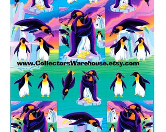 Lisa Frank Penguin Pals Sticker Sheet S367 vintage love Emperor