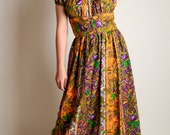 Vintage 1960s Dress - Bright Mustard Yellow Paisley Floral Maxi Dress - Medium