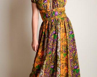 Vintage 1960s Dress - Bright Mustard Yellow Paisley Floral Maxi Dress - Medium