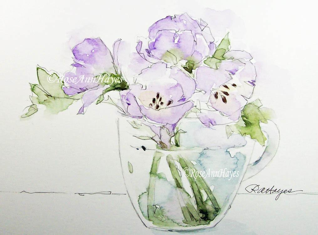 original peinture aquarelle bouquet de fleurs de par roseannhayes. Black Bedroom Furniture Sets. Home Design Ideas