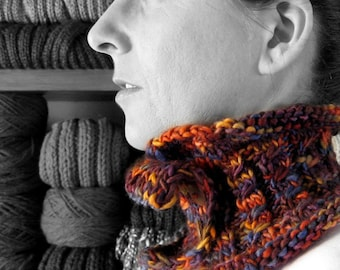 SALE - Scarflette Knitted in Variegated Purple and Orange Wool