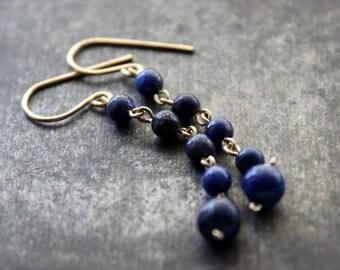 Deep Blue Lapis Lazuli 14K Gold Fill Earrings / Gold Filled Goldfilled Bridal Bridesmaid Drop Earrings / GUGMA Minimalist Jewelry