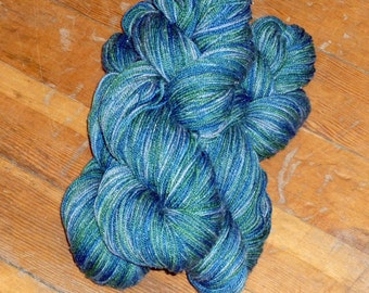 Seahawk Sparkle Silk/Wool/Metallic Sock Yarn Moonwalk Color Dance Yarns