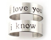Star Wars Rings - Han & Leia - Pair of Adjustable His and Hers Rings in Sterling Silver or Aluminum - your choice of font