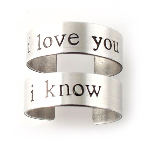 I Love You I Know - Pair of Adjustable His and Hers Rings in Sterling Silver - your choice of font