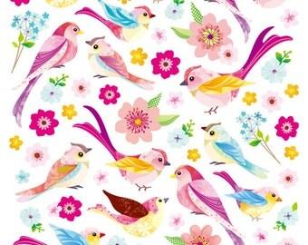 Spring Birds Stickers • Bird Lover • Bird Glitter Sticker • Backyard Bird • Bird • Bird Watcher • Bird Love • Flower Sticker (SK4905)