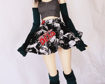 BJD MSD Minifee clothes Green abstract print thigh high socks and arm warmer set MonstroDesigns Ready to Ship