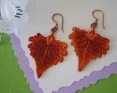 Copper Leaf Earrings Cottonwood, Small Cottonwood Leaf Earrings, Real Leaf Earrings, Copper Leaf, LESM24