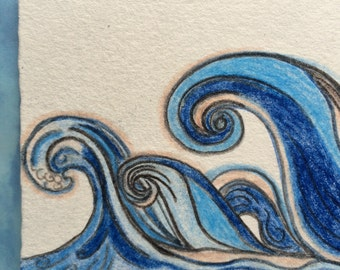 Waves ACEO drawing on paper