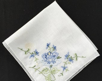 Vintage Blue and White Embroidery Flowers Ladies' Hankie/Handkerchief