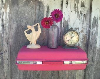 Wall Shelf made from Vintage 1980's Era Barbie Pink Samsonite Suitcase Luggage Repurposed Travel Inspired