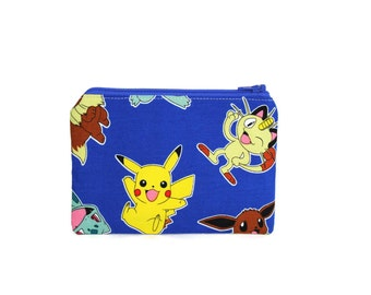 Pokemon Pikachu Bag / Pokemon Accessory Zippered Pouch / Charizard Squirtle Eevee Bulbasaur Make up Bag